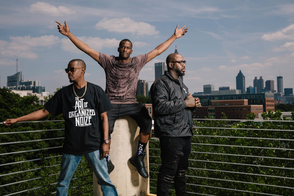 "ORGANIZED NOIZE HIGH ABOVE THE ATL: FROM LEFT TO RIGHT, RAY MURRAY, RICO WADE, AND PAT ""SLEEPY"" BROWN"