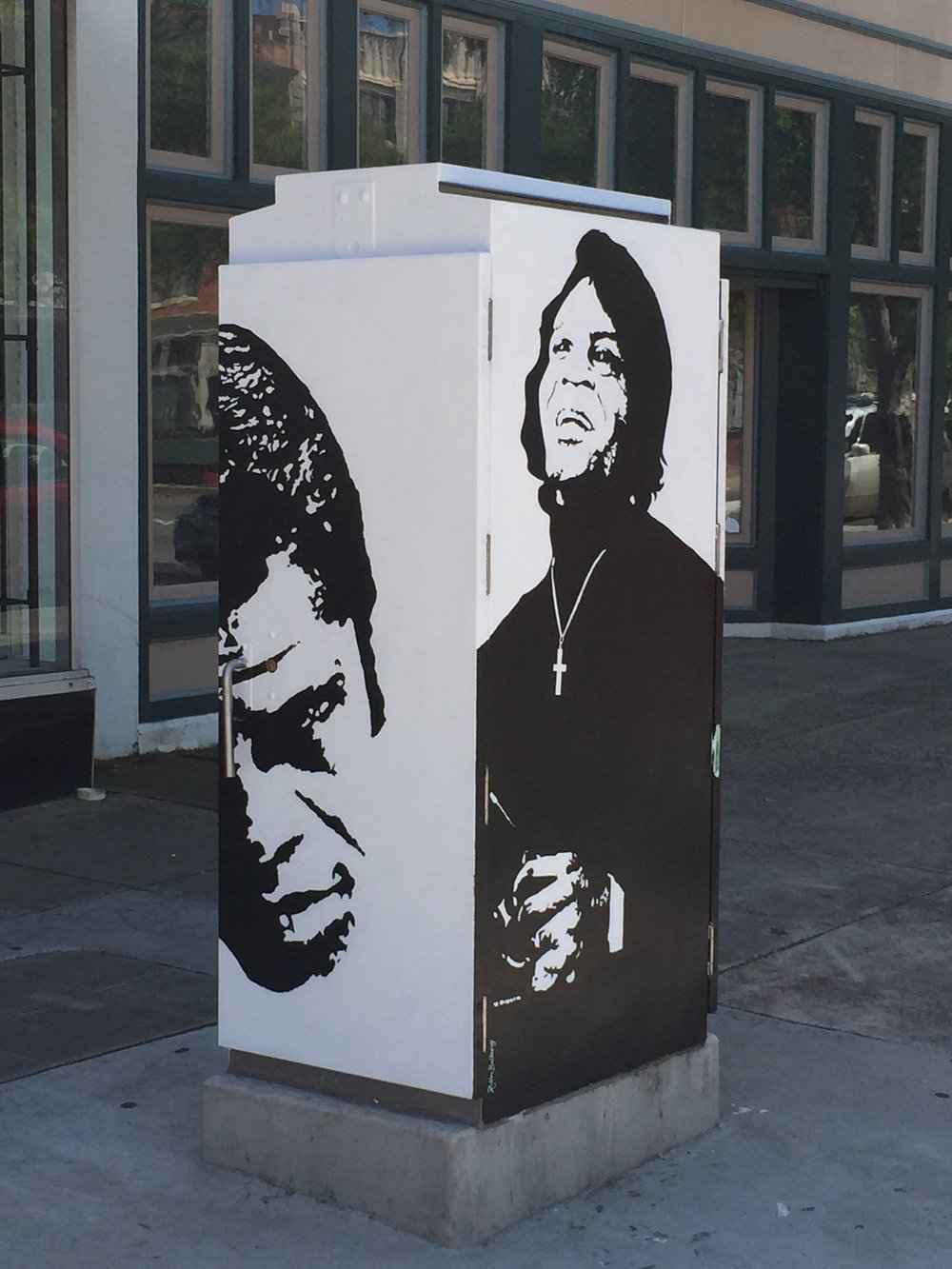 This traffic box  public art  was commissioned to be painted in tribute to the late great Godfather of Soul in 2015. Ms. Robbie Pitts Bellamy is the artist. Photo by Beachbluez