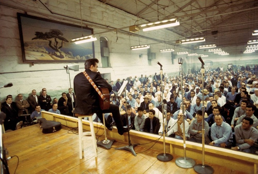 Johnny Cash performing at Folsom Prison on January 13, 1968