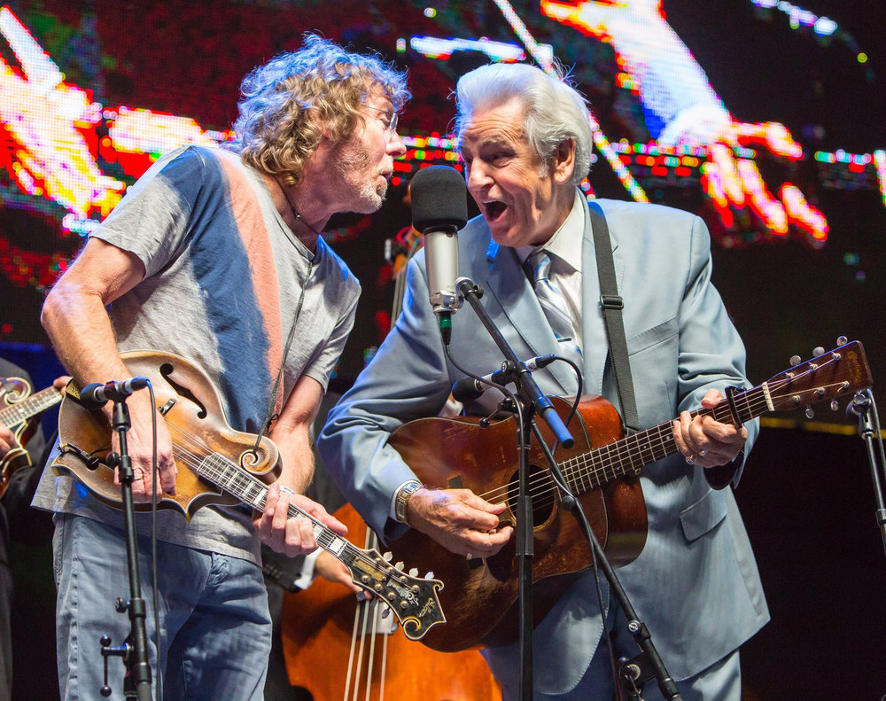 Bluegrass legends of the new and old schools: Sam Bush performs with Del McCoury.