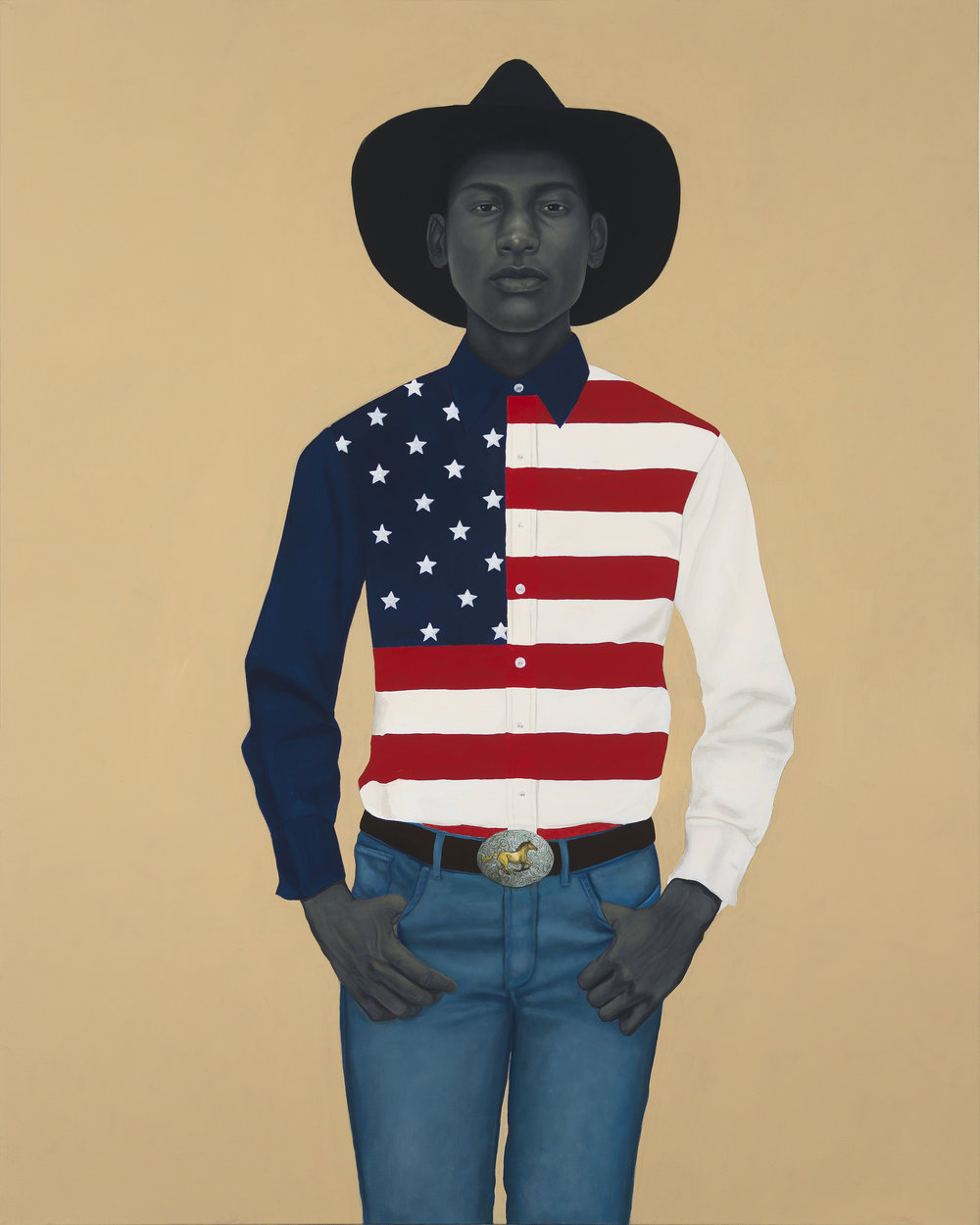 WHAT'S PRECIOUS INSIDE OF HIM DOES NOT CARE TO BE KNOWN BY THE MIND IN WAYS THAT DIMINISH ITS PRESENCE (ALL AMERICAN).   2017, 54 x 43 inches, Oil on Canvas