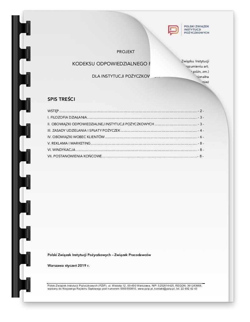 Projekt Kodeksu odpowiedzialnego pożyczania PZIP