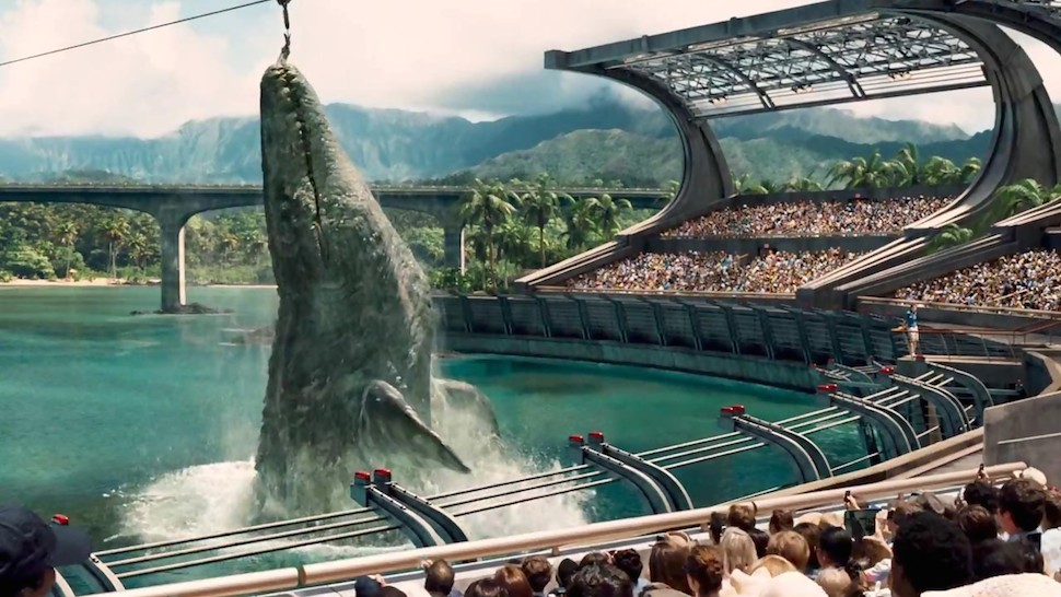 The Jurassic World Mosasaurus making short work of a shark