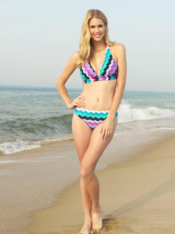 Style Name: Ikat Stripe Halter Bikini and Scoop Bottom. Style #: Top:CL31300Y Bottom:CL31501Y Removable soft cups Visit Walmart