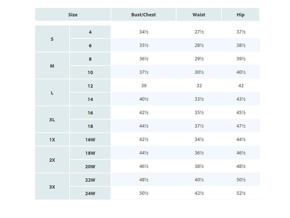 swimsuit size chart: Size chart catalina swimwear