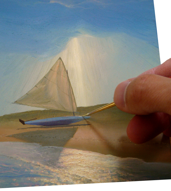 "Abraxas applying minute details to ""Beached"", a depiction of a sailboat on Lewes Beach."