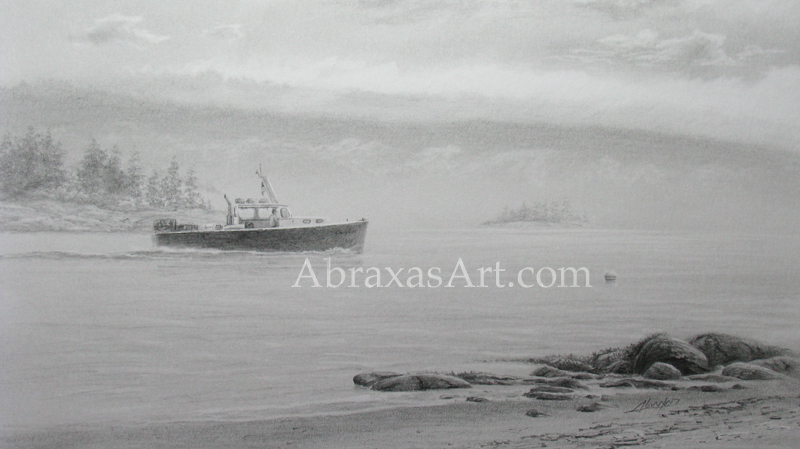 Morning Commute, a graphite sketch by Abraxas.