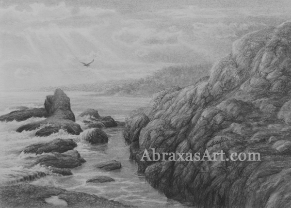 Graphite sketch of the Laguna coast.