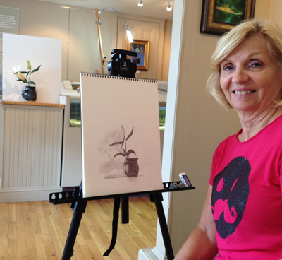 Abraxas' mom Sue completed her first sketch since childhood at a recent class!