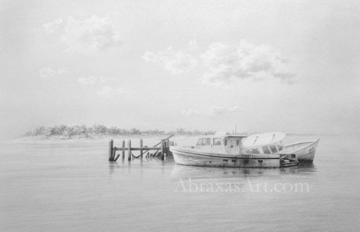 """""""Sunrise Marina"""", along with other original sketches, is on display and available at the gallery."""