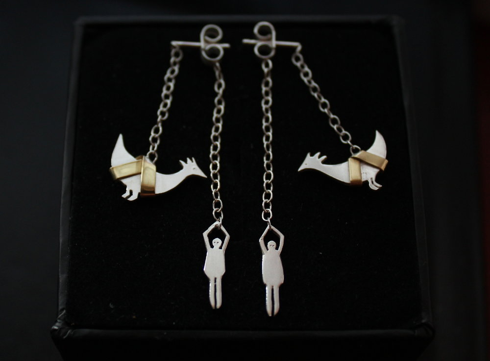 lifting chickens earrings silver & brass 2013.JPG