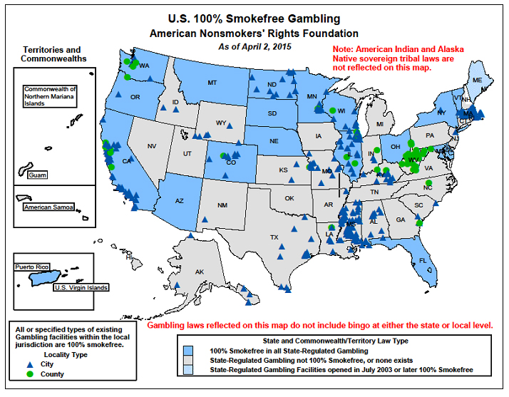 Smokefree Gambling Map Louisiana Cancer Prevention And Control