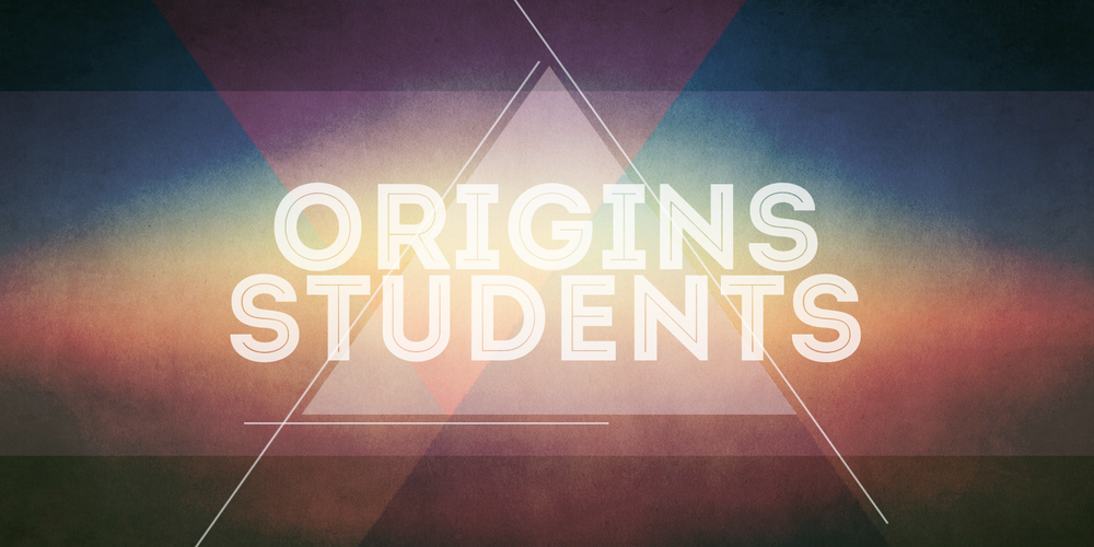 Origins Students meets weekly on Wednesday nights 6th-12th graders from 6:30-8pm at Origins.  The first Monday of every month is a large group worship service with The Orchard at Origins, and the other weeks our Origins students meet in more of a small group discussion format (with around 20 or so students).  For more info, email  Russ.Polsgrove@gmail.com