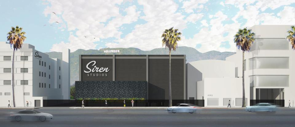 Street view of Siren Studios on Sunset Boulevard - complete with the iconic Hollywood Sign!