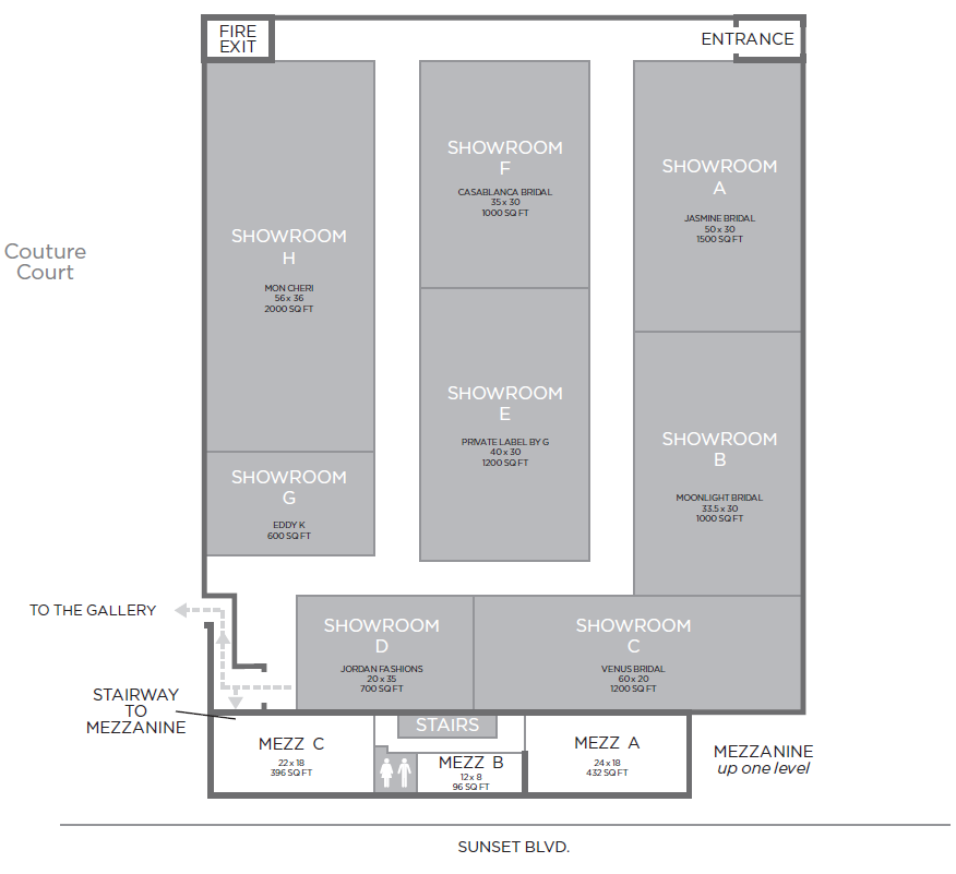 Complete floorplan of The Soundstage Showroom A-H exhibitors