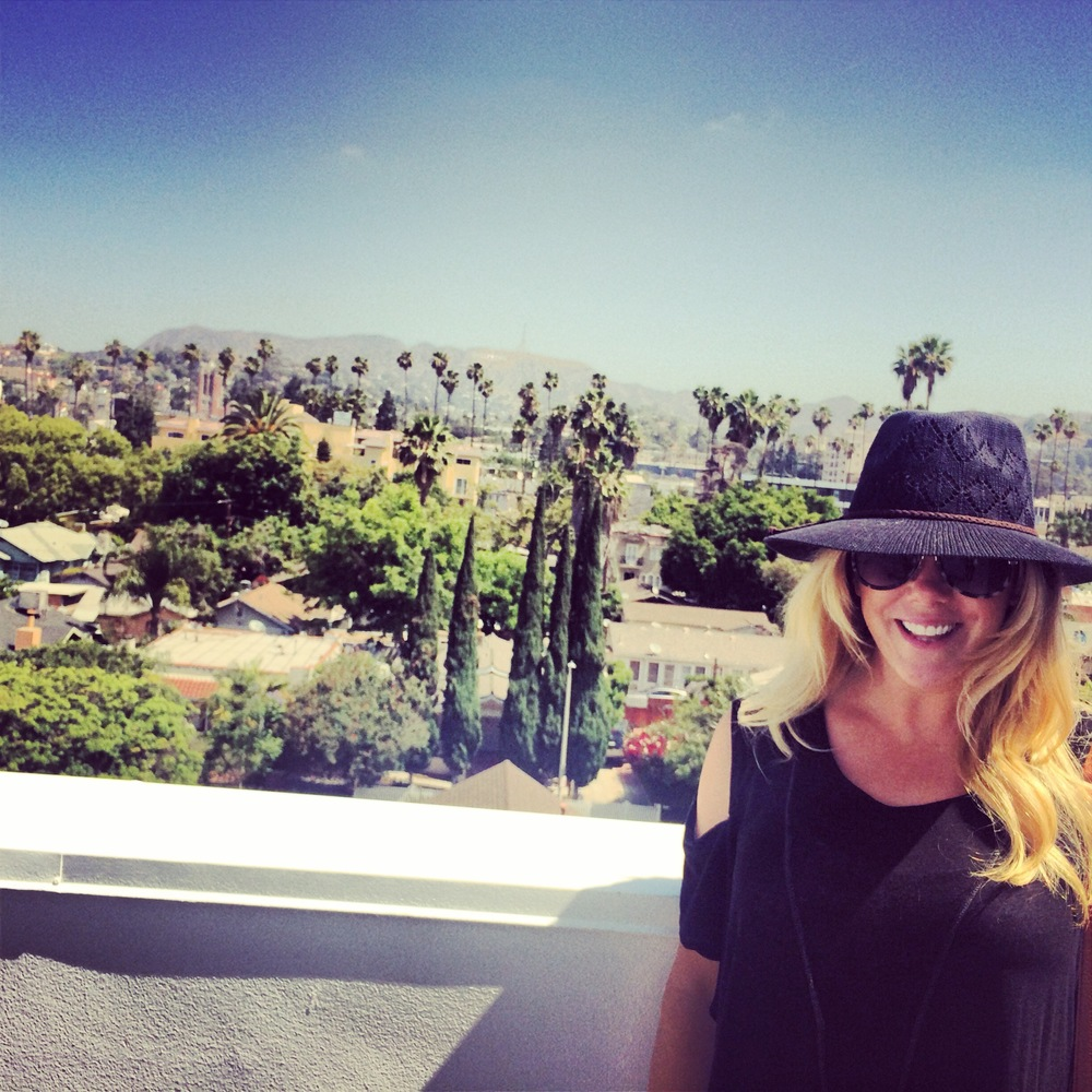 Nicole Gillis enjoying the rooftop sunshine at Siren Studios!