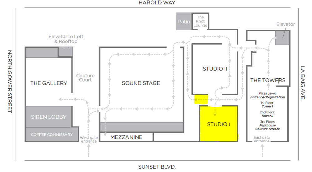 Highlighted areas: Studio I (Essence of Australia) and reception area (CZ by Kenneth Jay Lane)
