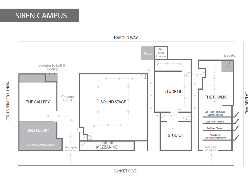 Siren Studios campus map for COUTURE LA
