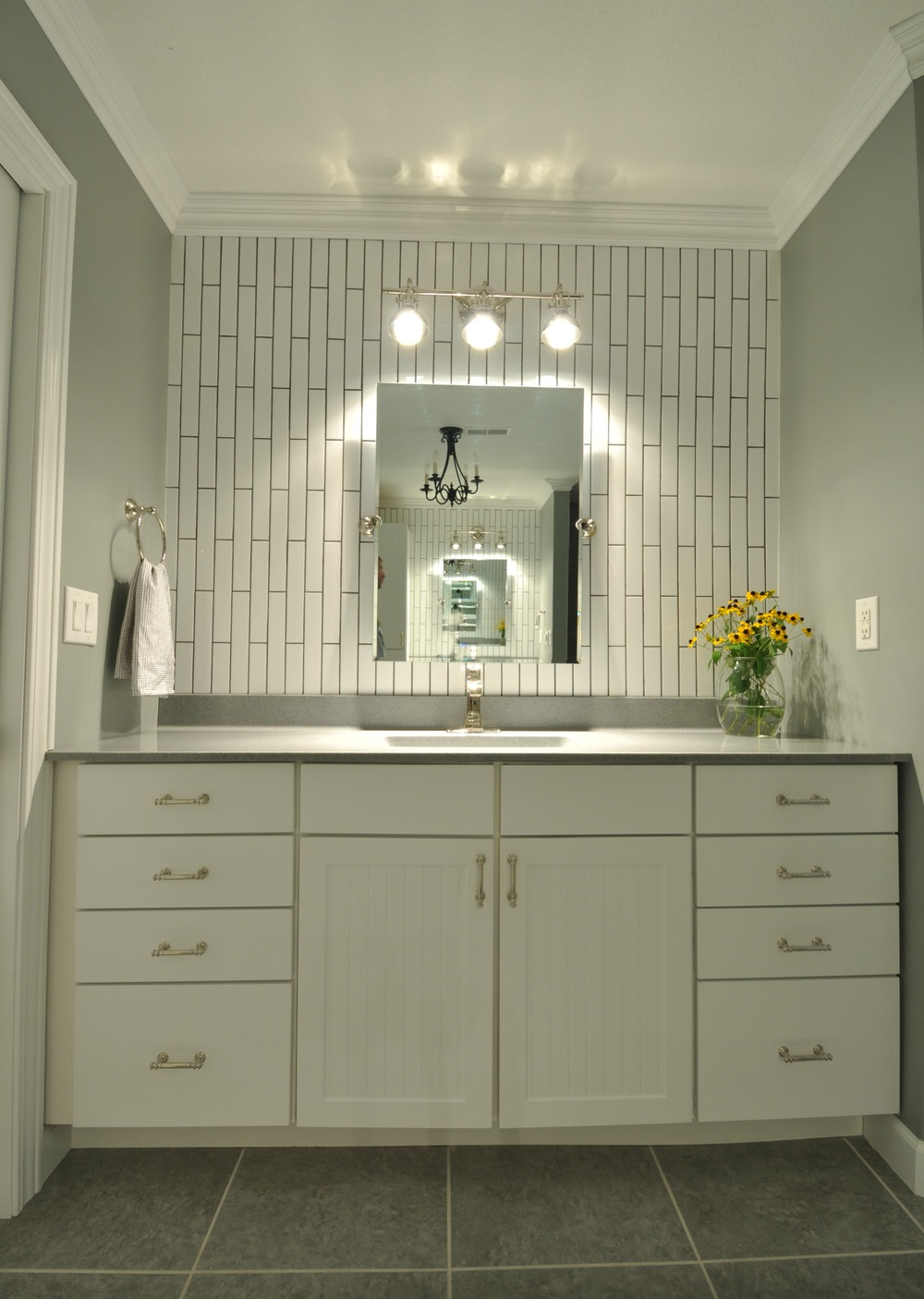 Master Bathroom reveal {the tile shop, subway tile, polished nickel finishes}