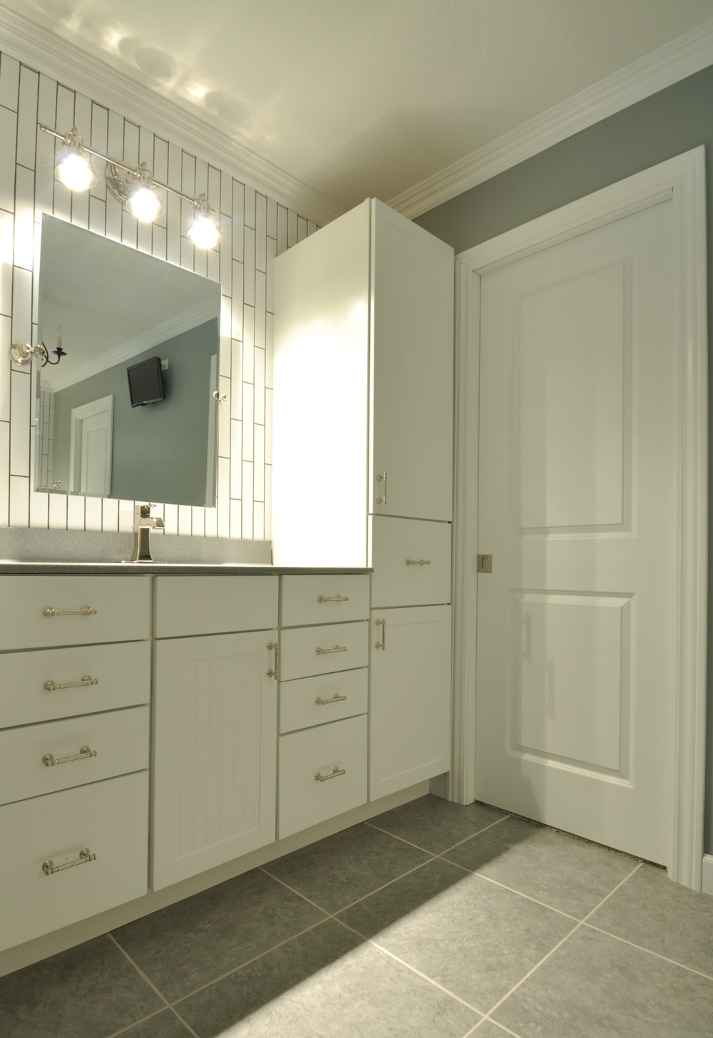 Master Bathroom reveal {the tile shop, subway tile, polished nickel finishes}