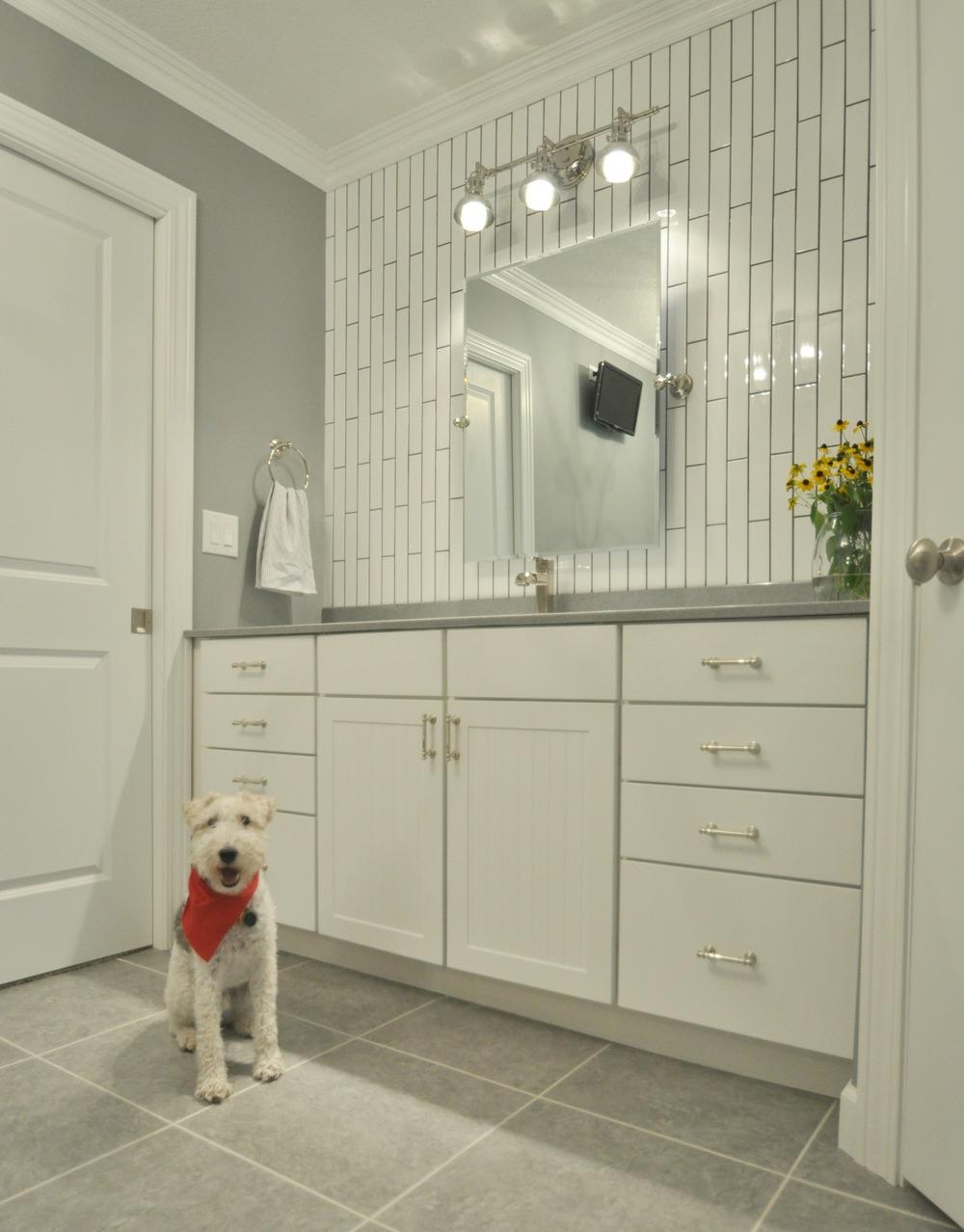 master bathroom reveal decor and the dog. Black Bedroom Furniture Sets. Home Design Ideas