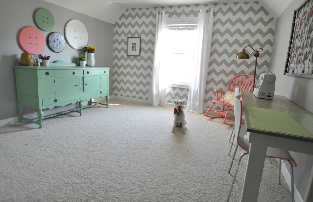 Craft room tour decor and the dog for Dog room furniture