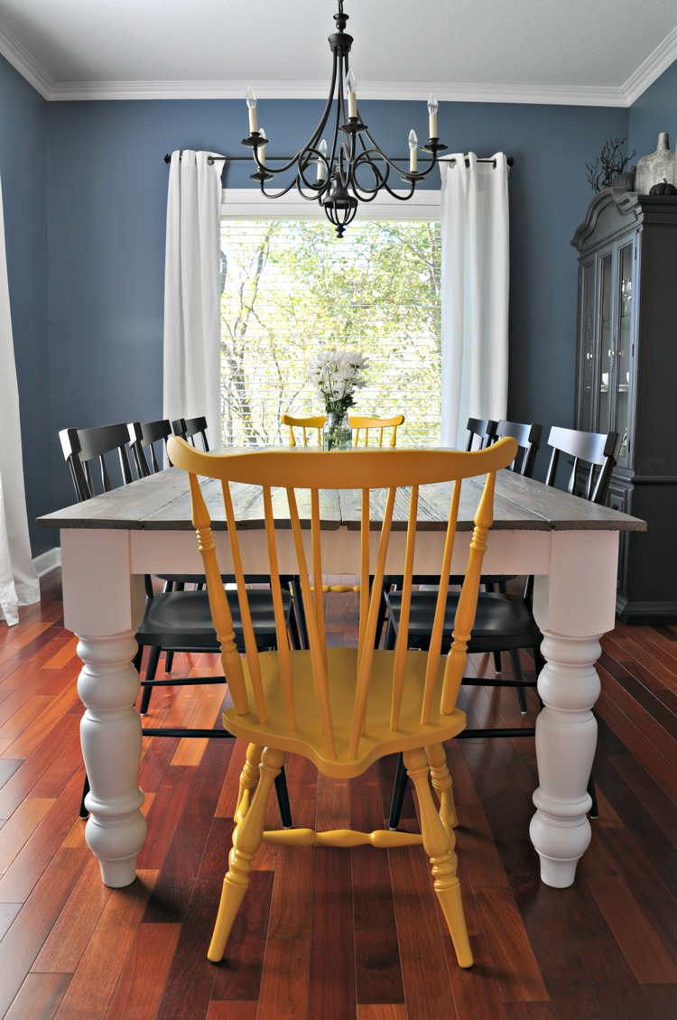Farmhouse Table Reveal. Farmhouse table with colorful chairs! - Rustic Farmhouse Dining Table — Decor And The Dog