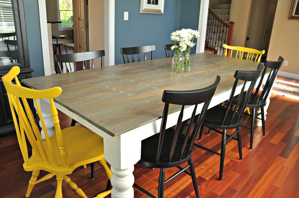 Rustic farmhouse dining table decor and the dog - Colorful dining room tables ...