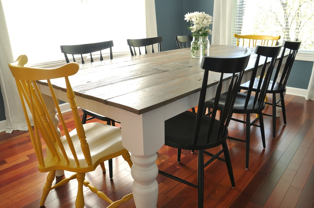 free farmhouse dining table plans decor and the dog. Black Bedroom Furniture Sets. Home Design Ideas