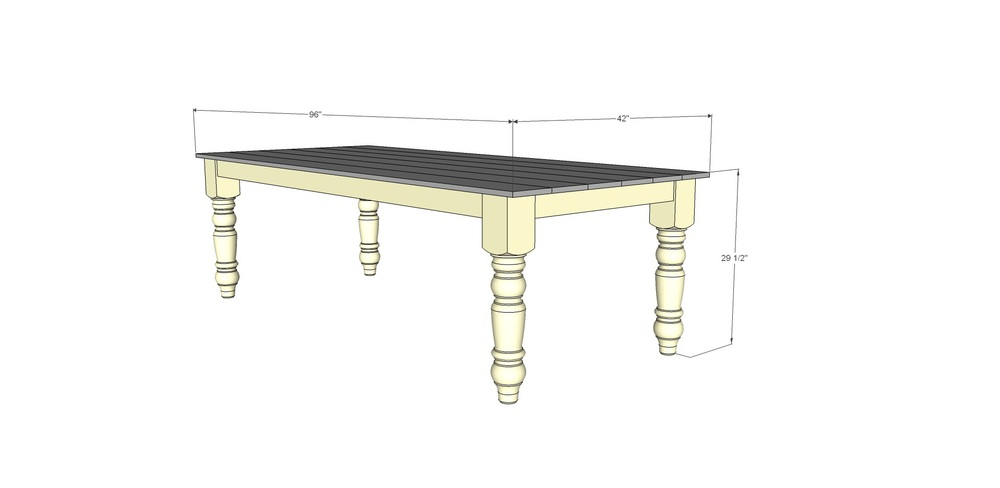 Free farmhouse dining table plans decor and the dog for Dining room table dimensions