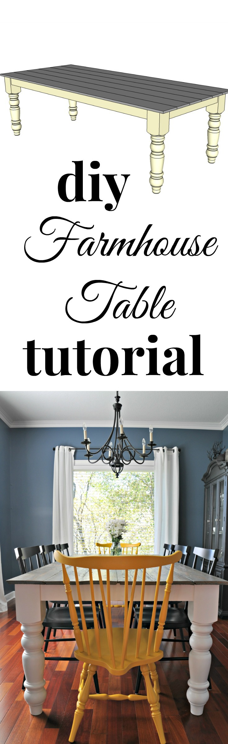 Free Farmhouse Dining Table Plans {DIY Tutorial}
