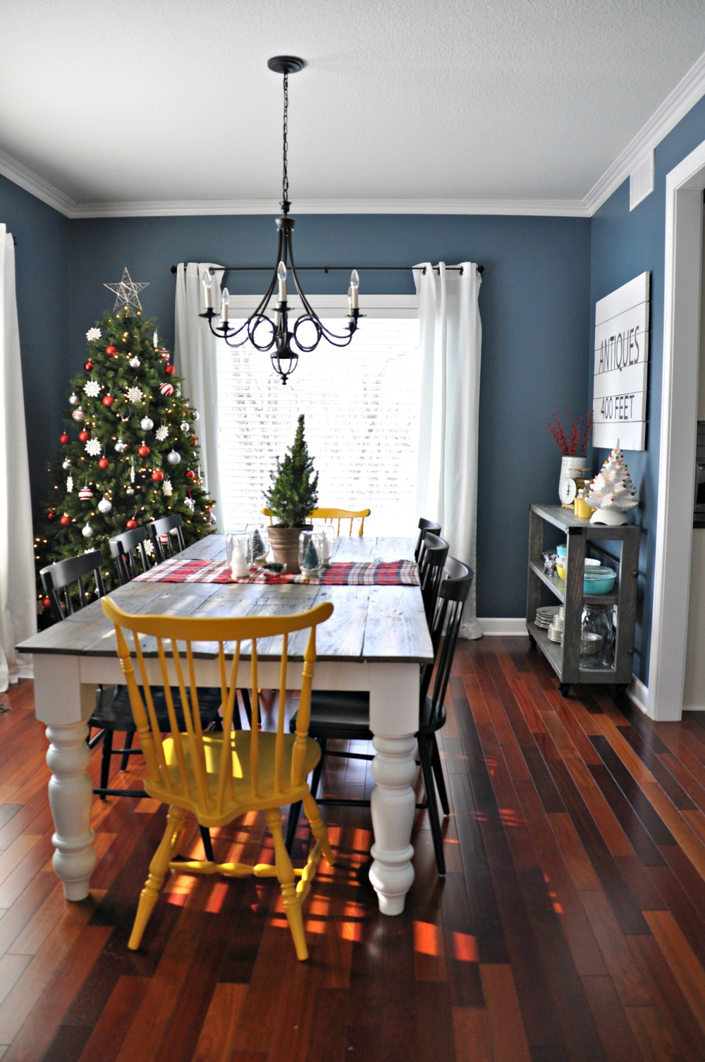 Holiday home tour dining kitchen decor and the dog for Dining room ideas in blue