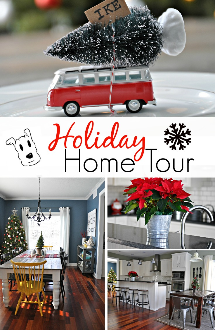 Holiday Home Tour {decor and the dog}.  Lots of simple holiday decorating ideas!