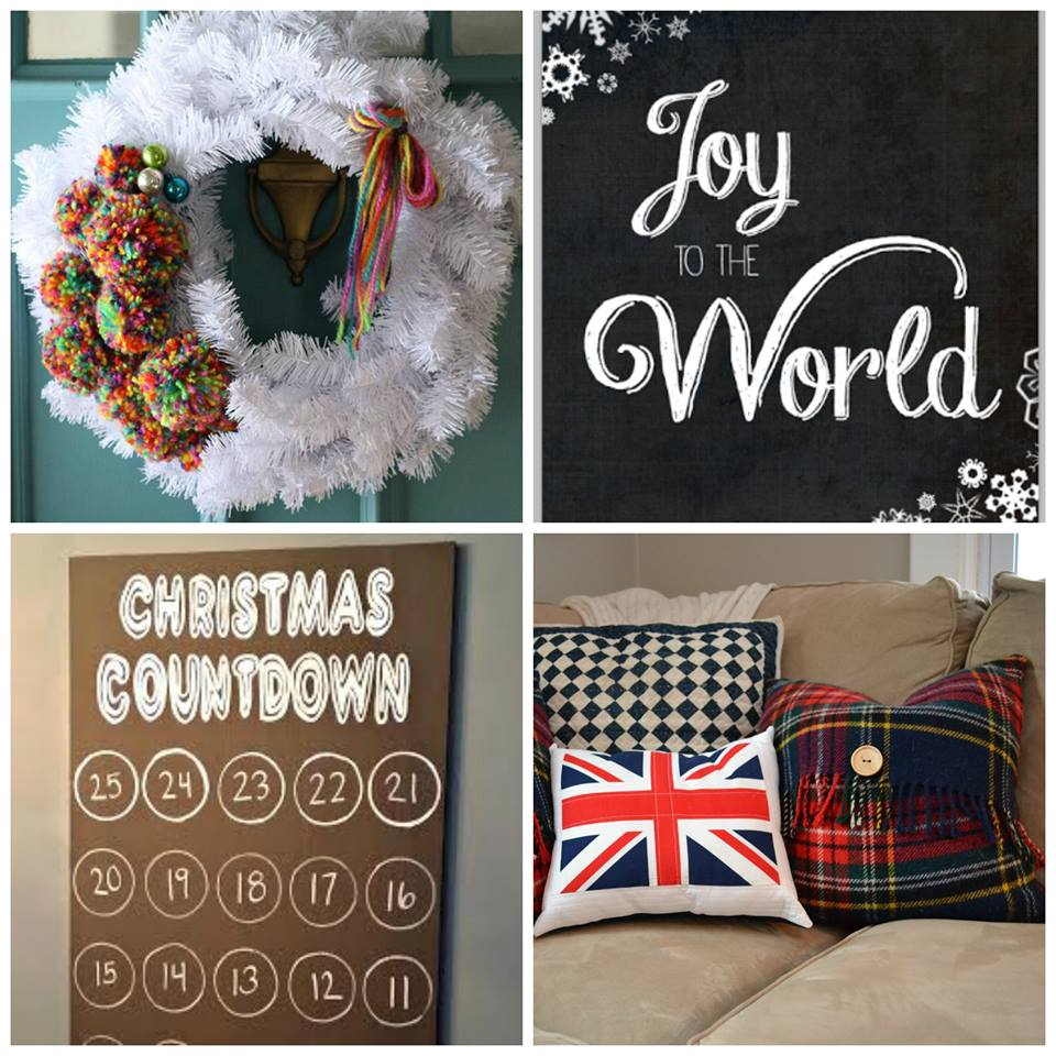 (Colorful pom pom wreath via  Primitive and Proper , Joy to the World print via  Maybe Matilda , Christmas countdown via  Decor and the Dog,   Plaid and Union Jack pillows via    NewlyWoodwards  )