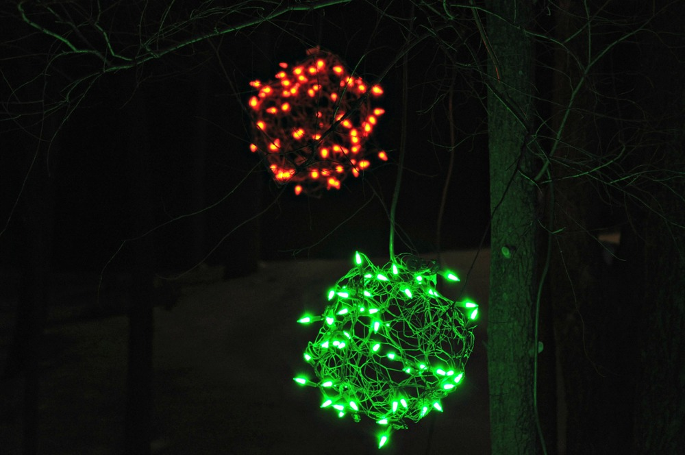 Lighted Christmas Balls + Outdoor Lights 2013 Decor and the Dog