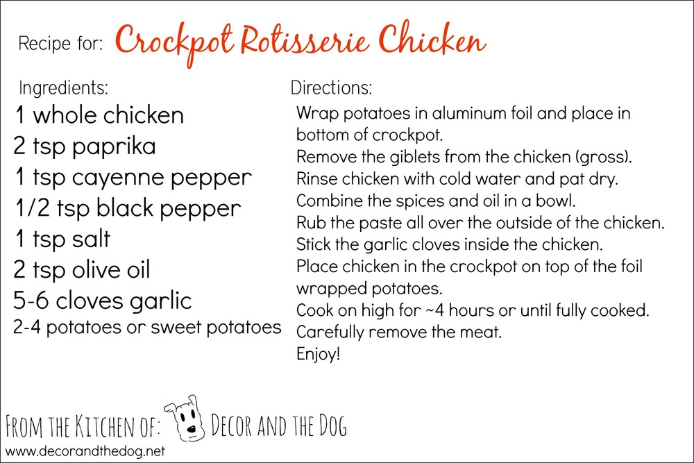 Crockpot Rotisserie Chicken | Decor and the Dog
