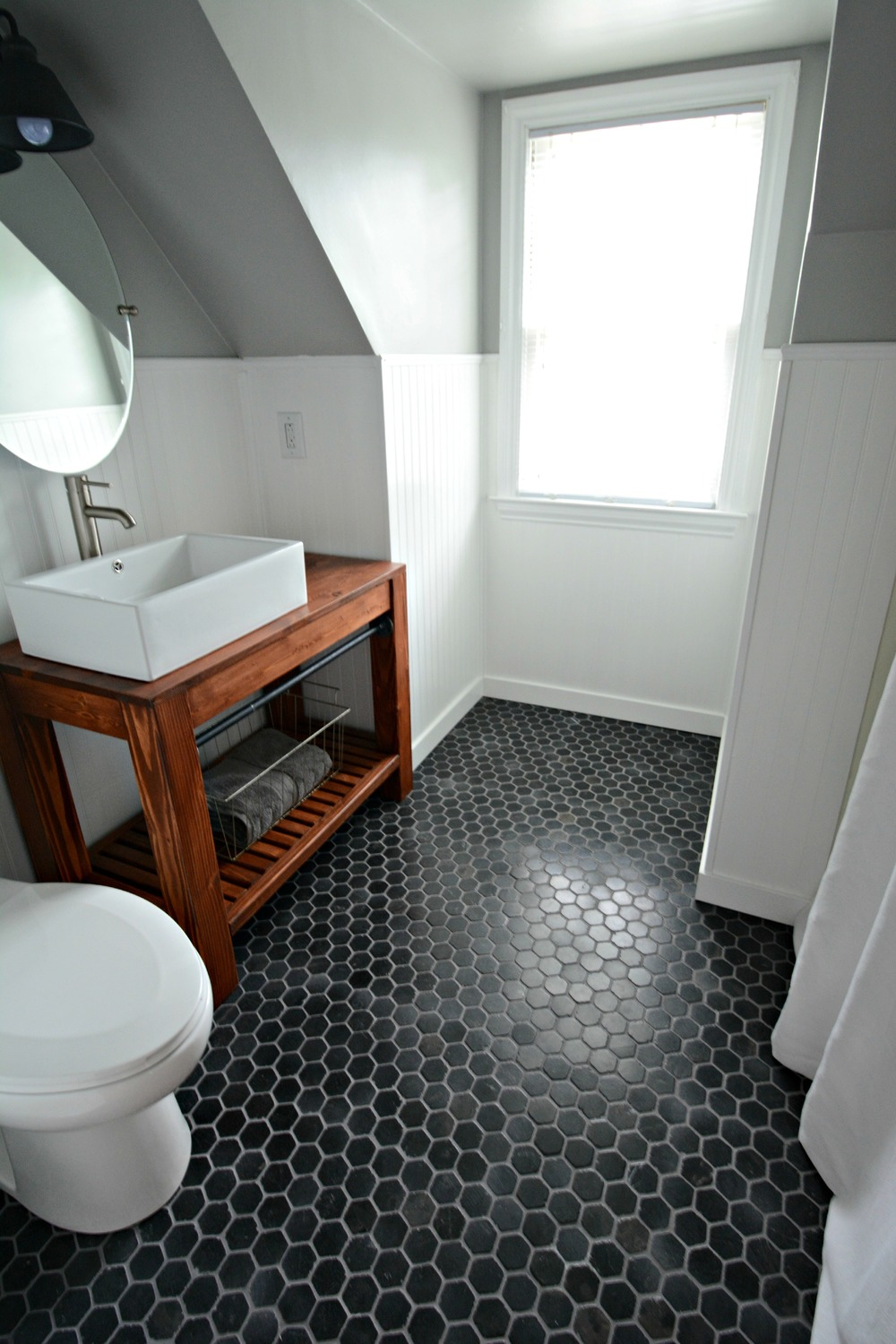 Small Bath Remodel Part Dos — Decor and the Dog on black and white kitchen floor, black and white floor patterns, black and white bathrooms marble tile for floor, black and white bathroom flooring, black and white painted bathroom,