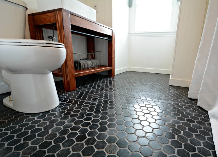 Small Inexpensive Bath Reveal beadboard farmhouse black hex tile floor  sherwin  Small Bath Remodel Part. Black Hex Floor Tile