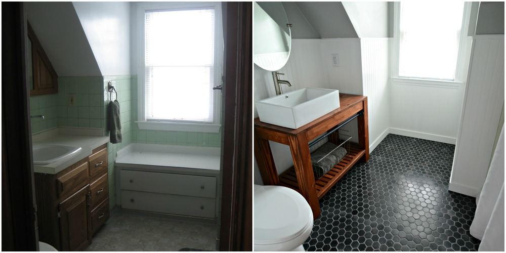 Small, Inexpensive Bath Reveal {beadboard, farmhouse,black hex tile floor, sherwin williams argos, diy vanity}