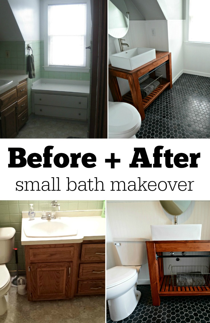 Small bath remodel part dos decor and the dog Before and after small bathroom makeovers