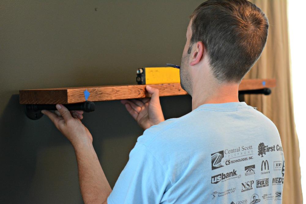DIY Industrial Shelving Tutorial/BLACK+DECKER Autosense Drill Giveaway