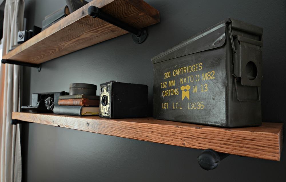 DIY Industrial Pipe/Wood Shelving Tutorial/BLACK+DECKER Autosense Drill Giveaway
