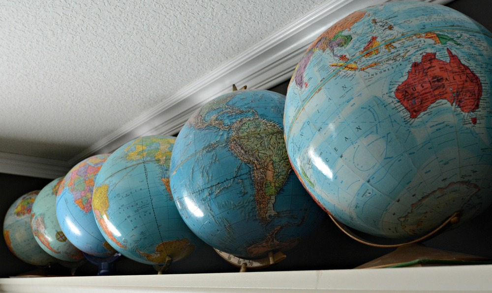 Globe Collection.  Globes as decor.