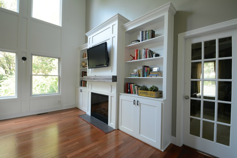 Living Room Built Ins living room built-in cabinets — decor and the dog