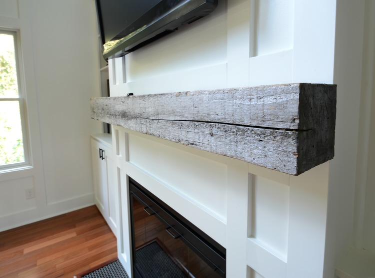 How to Install a Barn Beam Mantel  Decor and the Dog