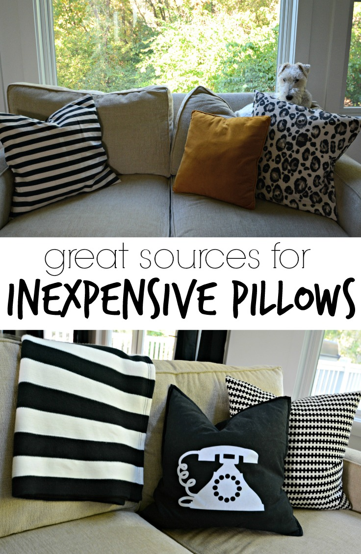 Great Sources for Inexpensive Pillows.  Most under $20.