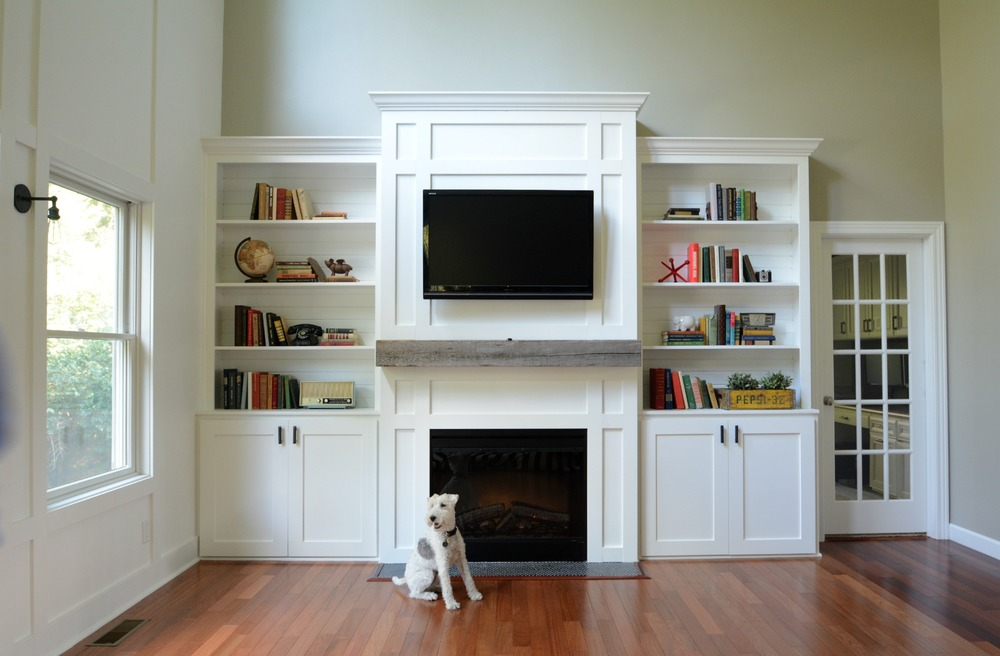 living room built ins tutorial - Built In Bookshelves Around Fireplace