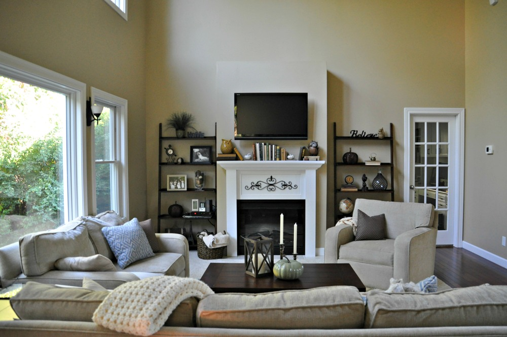 Ana White Living Room Builtins Feature by Decor and the Dog