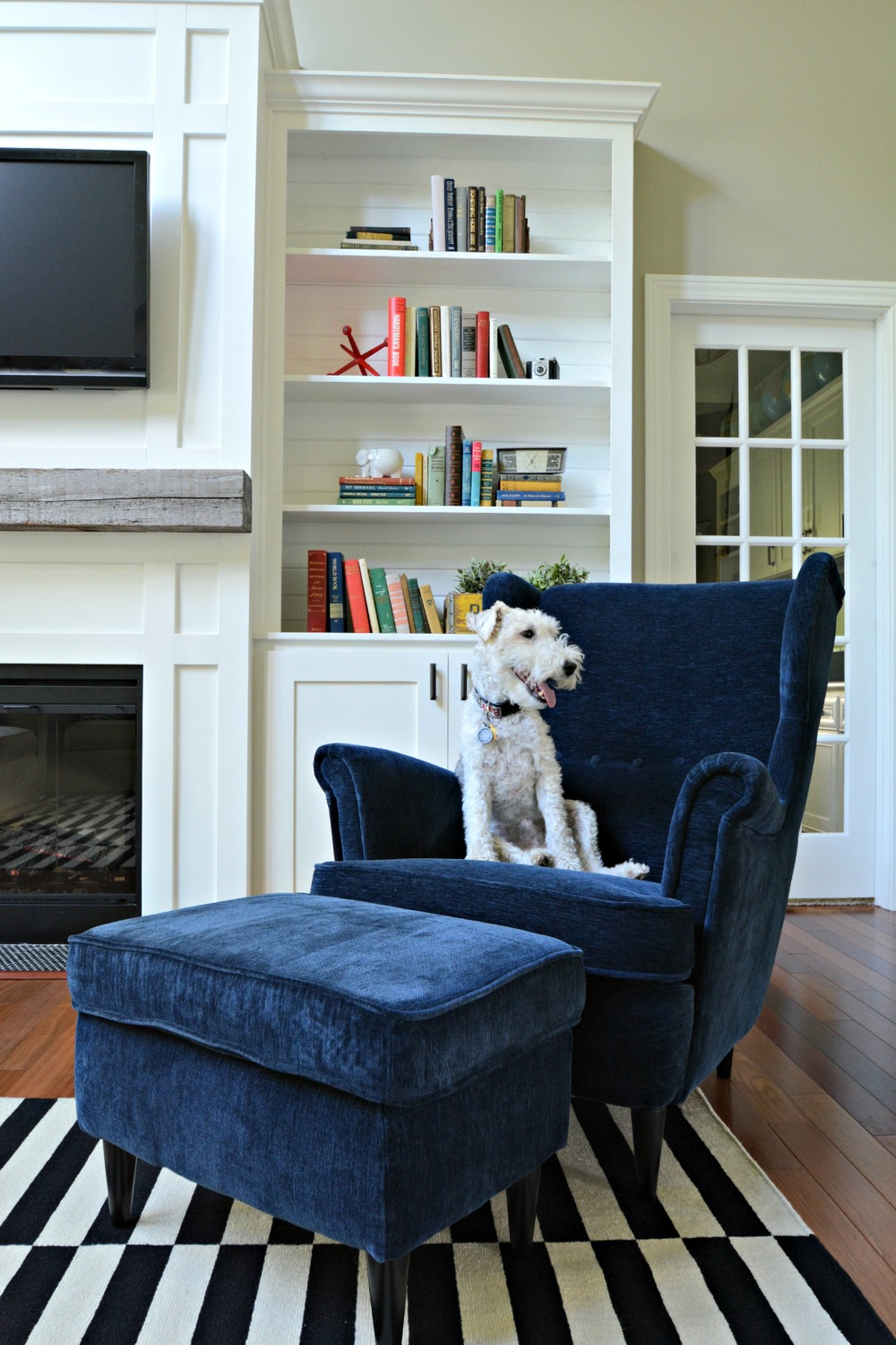 ikea sitting room furniture jeddah catalogue living room updates ikea stockholm rug black white navy barn beam decor and the dog