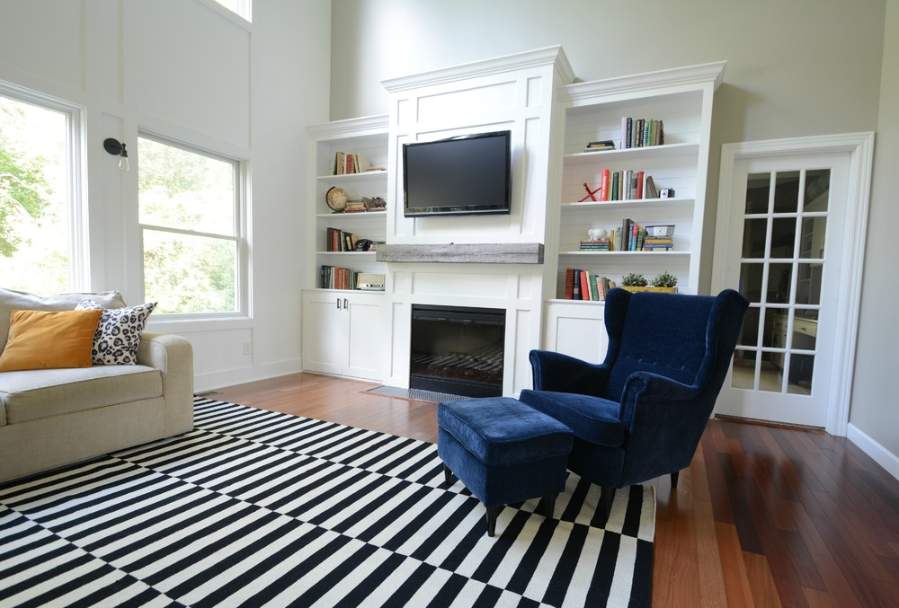 Living Room Updates {IKEA Stockholm Rug} Black, White, Navy. Barn Beam